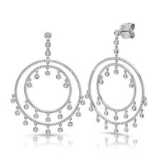 14k White Gold Circle Drop Dangle Diamond Shaker Dreamcatcher Earrings 1.42ct