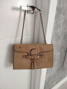 GUCCI Emily Horsebit Patent Leather Beige Flap Chain Bag Shoulder Tassels 295402