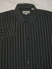 PRONTO UOMO size mens XL long-sleeve button-down SHIRT - gray stripes - cotton