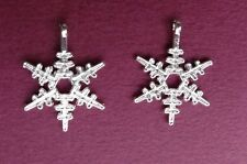 "25 SNOWFLAKE Charms Pendant ~ Bright Silver Color 23x20mm w/ loop Almost 1"" high"