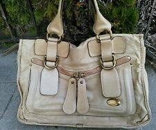 Authentic CHLOE  Bay Handbag Tote Bag Leather Ivory Gold Italy