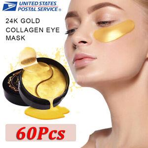 60pc 24K Gold Crystal Collagen Eye Mask Patch Gel Wrinkle Anti Aging Dark Circle