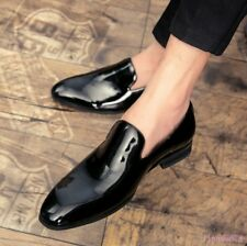 Mens Patent Leather Slip On Loafers Dress Formal Pointy Toe Business Shoes CHIC