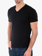 Men's Gem Rock Solid Black V-Neck T-Shirt Size Large Lot of (2) Brand New!