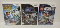 LEGO Star Wars III, Clone Wars Lightsabre, Unleashed Nintendo Wii 3 Game Lot