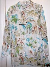 Chico's Multi-Colored Button Down long Sleeve Village Scene Palm Trees Size 3