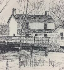 VINTAGE 80s Landscape Original INK DRAWING By Victoria Hunt House Water Trees