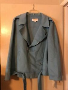 NWT Michael Kors Pale Blue Polyester Blend Bottom Belted Zipped Jacket Size 3X