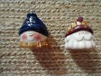 2 Crazy Mountain Christmas Votive Candle Holder Santa Claus and Snowman Vintage