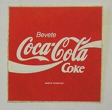 VECCHIO ADESIVO ORIGINALE / Old Original Sticker COCA COLA COKE (cm 10 x 10) m