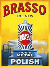 Brasso Metal Polish Old Vintage Advertising Kitchen Garage Large Metal Tin Sign