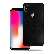 [SOJITEK] for Apple iPhone X Black Leather Protective Vinyl Skin Decal Stickers