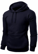 MENS PLAIN PULLOVER HOODED SWEATSHIRT HOODIE HOODY JUMPER JACKET S M L XL XXL