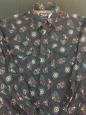 Wrangler Cowboy Cut Western Button Front Shirt Paisley Black 15.5-33