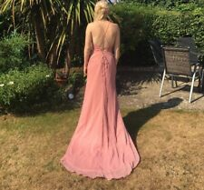 pink, slim fit, backless prom dress s8, worn once, perfect condition.