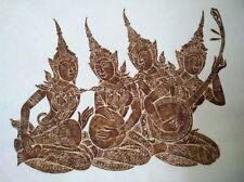 """Thai Temple Rubbing -Brown - 4 Angel Woman Play Musical Art  24"""" x 24"""" Original"""