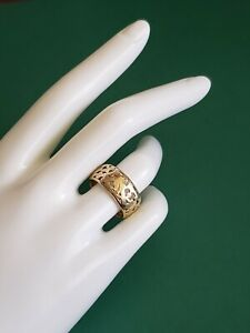 VERY RARE MING'S Hawai'i Vintage 14K Gold Bird in Plum Cutout Band Ring-Size 8.5