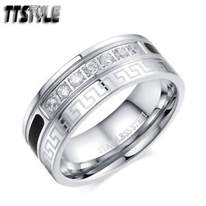 TTStyle 8mm Stainless Steel Greek Key Band Ring With Clear CZ Size 6-14 NEW
