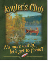 Angler's Club Tin Metal Sign 13 x 16in