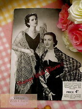 Vintage 1940s Knitting Pattern For 2 Fabulous Evening Wear Shawls And Stole