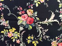 RPFGA21 Shabby English Garden Rose Bouquet Country Floral Cotton Quilt Fabric