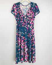 SAHALIE Jersey Dress Large Cross Bodice Cap Sleeve Fit & Flare Geometric Print
