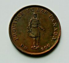 1837 LOWER CANADA (Quebec Bank) Token Coin - 1/2 Penny (1 Sou) - LIGHTLY CLEANED