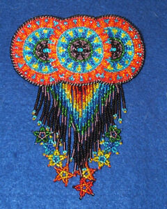 """Hand Beaded 3 Circle Barrette w Star Fringe 4.5""""x2.5"""" French Clip Red & Blue #02"""