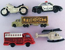 READY TO ROLL Motorbike Helicopter Police Car Fire Engine Dress It Up Buttons