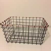 Copper and Black Wire Metal Storage Basket Handles Filing Crate Office Kitchen