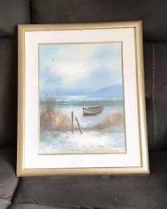 G Cousteau- Coastal Nautical Maritime Textured Print Of Painting -Framed Picture