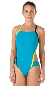 NWT $69 Speedo Endurance Lite Practice Swimsuit Size 26 Vee 2 Color Block Teal f