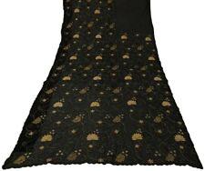 Vintage Indian Saree Beaded Embroidered Applique Work Net Fabric Black Sari