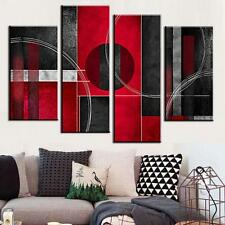 Framed Abstract Canvas Print Painting Home Decor Red Black Wall Art Picture 4pcs