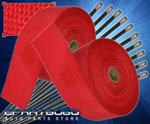 """360"""" 30Ft Heat Wrap Shield Insulation Reduction Down Header Test Pipe Cat Red"""