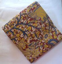 Cotton kalamkari block print fabric - 100 cms length by 43 Yellow peacock