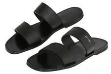 NEW PRADA MILANO BLACK SAFFIANO LEATHER LOGO FLIP FLOPS SANDALS SHOES 8.5/US 9.5