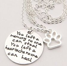 """""""You left a Memory no one can steal """" Pendant Charm Tag Pet Loved one Necklaces"""