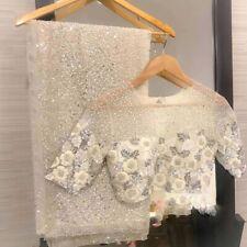 Lattest White Net Indian Wedding Designer Women Saree Party Sari sequin Blouse