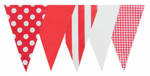 Red White Mix Bunting 10m 20 Flags Outdoor Vintage Stripe Dot Shower Garden Flag