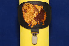 Pomeranian arm band ring number holder with clip. Dog show accessories.