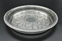 SMALL ROUND QUEEN ANN STYLE CHASED PIERCED DRINKS SERVING TRAY SILVER PLATED