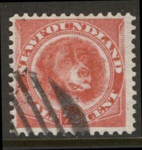 NEWFOUNDLAND 56 1887 1/2c ROSE RED DOG BABNC PRINTINGS USED