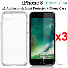 x3 Apple iPhone 8 4H anti-scratch front screen protector and clear case cover