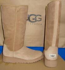 UGG KARA Chestnut Classic Tall Slim Suede Sheepskin Wedge Boots Size US 8 NIB