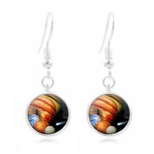 Solar System glass Frea Earrings Art Photo Tibet silver Earring Jewelry #218