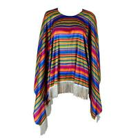Adult Mexican Poncho Spanish Costume Wild West Cowboy Bandit Blanket Party Dress