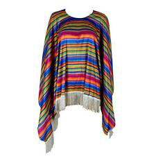 Adult Unisex Mexican Poncho Costume Wild West Cowboy Bandit Blanket Party Dress