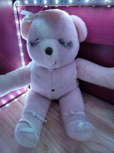 VINTAGE HANDMADE BLUSH PINK TEDDY BEAR 18 inches Plush boy girl ONE OF A KIND