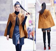 b52d59bb ZARA WHISKY LEATHER CAPE TOBACCO FRINGED SUEDE JACKET SIZE M 10 UK 38 EU 6  US